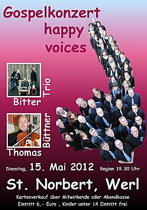 Konzertplakat zum Gospel-Konzert der happy voices Werl am 15.05.2012