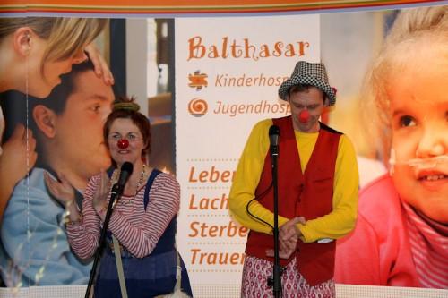 Lulu und Micha, die Klinikclowns des Kinderhospiz sorgten für lustige Unterhaltung