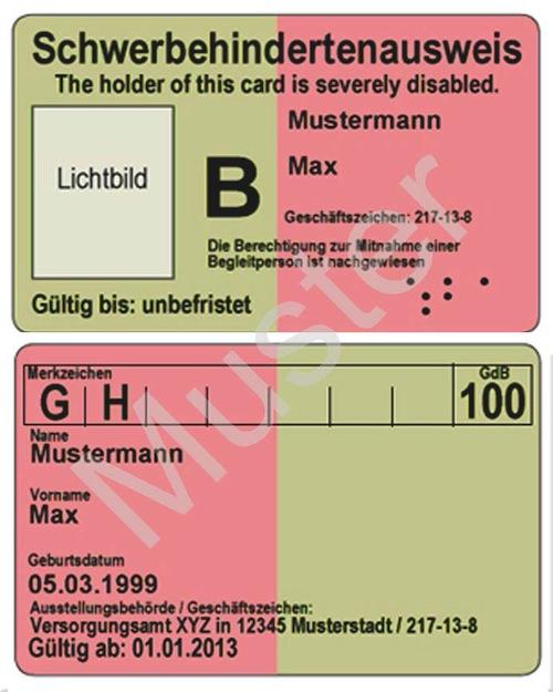 So sehen Vor- und Rückseite des neuen Schwerbehindertenausweises im Scheckkartenformat aus. Fotomontage: Pressestelle Kreis Soest