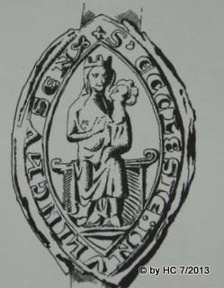 Das Siegel des Kloster Oelinghausen von 1284 mit der Umschrift: S.ECCLESIE IN ULINGHUSEN