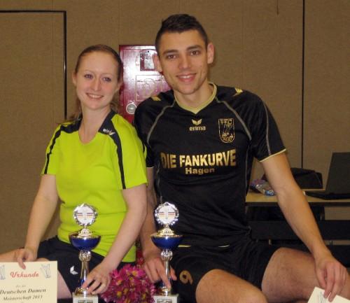 Deutsche Einzelmeister 2013: Sarah Walter und David Zentarra vom FFC Hagen. (Foto: Uwe Walter)