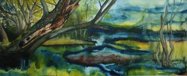 """Das Aquarell """"Möhne Re-Natur"""" von Gisela Pletschen (Foto: Gisela Pletschen)."""