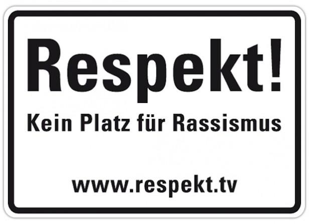 Ein solches Schild setzt ab Dienstag, 11. Februar 2014, am Soester Kreishaus ein deutliches Zeichen gegen Rassismus (Foto: Kreis Soest).