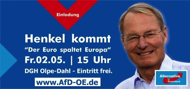 Photo of Hans-Olaf Henkel in der Dorfgemeinschaftshalle Olpe