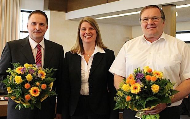 Der Rat der Gemeinde Wilnsdorf wählte Klaus Grünebach (l.) zum 1. Stellvertreter und Gerhard Moos zum 2. Stellvertreter von Bürgermeisterin Christa Schuppler (Foto: Gemeinde Wilnsdorf).