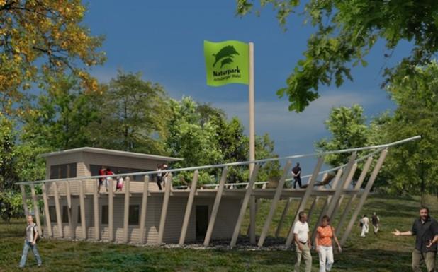 """Das """"Waldschiff"""" im Bibertal bei Rüthen soll Gästen nach seiner Fertigstellung Gelegenheit zu Information und Rast bieten. Hier der Erstentwurf des Gebäudes, der sich allerdings etwas vom aktuellen Bauplan unterscheidet. So wird es beispielsweise kein begehbares Sonnendeck mehr geben (Grafik: Naturpark Arnsberger Wald)."""