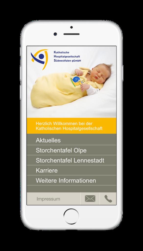 Die App der Hospitalgesellschaft funktioniert auch auf dem neuen iPhone 6 (Bild: Katholische Hospitalgesellschaft Südwestfalen gGmbH).