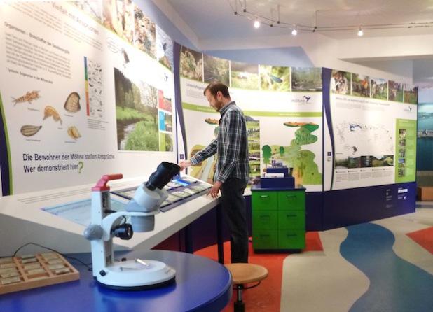 Besucherinnen und Besucher des Landschaftsinformationszentrums Wasser und Wald Möhnesee (LIZ) können sich jetzt an einer neuen interaktiven Ausstellungswand über das Projekt Life+ Möhneaue informieren. Auf dem Bild bedient gerade Jens Hoheisel, Mitarbeiter des LIZ, die teilweise neue interaktive Informationsquelle (Foto: Kreis Soest).