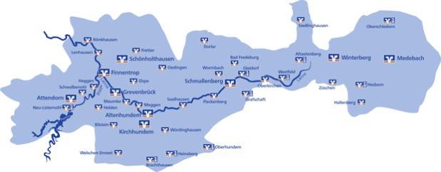 Das Geschäftsgebiet der Volksbank Bigge-Lenne mit Standorten im Kreis Olpe und im Hochsauerlandkreis (Bild: Volksbank Bigge-Lenne eG).