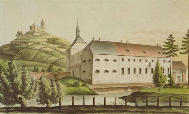 """Das """"Irrenhaus"""" zu Niedermarsberg, vormals Kapuzinerkloster. Dieses Bildnis ist aus der Zeit vor 1829. Die Stiftskirche von Obermarsberg auf dem Eresberg besitzt noch den barocken Zwiebelturm (Quelle: Marsberger Geschichten - Schlüssel zur Vergangenheit e.V.)."""