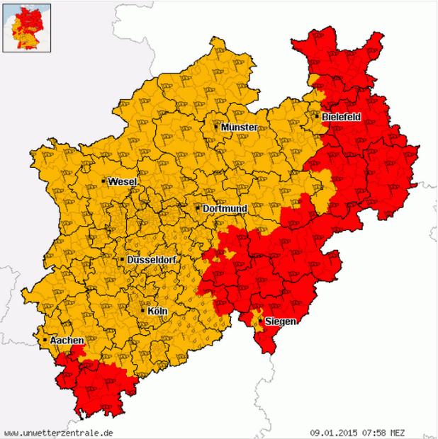 Unwetterwarnung für nahezu ganz Südwestfalen! Quelle: Unwetterzentrale.de