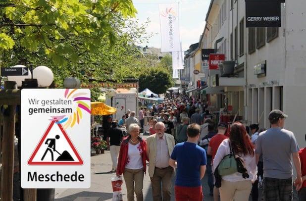 """""""Wir gestalten gemeinsam"""": Für eine Umgestaltung der Ruhrstraße wollen Anlieger und Stadt Meschede gemeinsam anpacken (Fotomontage: Stadt Meschede)."""