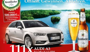 Krombacher Kronkorkenaktion 2015 mit attraktiven 111 Audi A3 Sportback