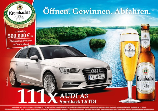 Photo of Krombacher Kronkorkenaktion 2015 mit attraktiven 111 Audi A3 Sportback