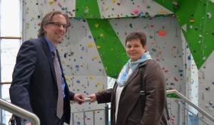 Tanja Wagener besuchte neues Kletterzentrum des Alpenvereins