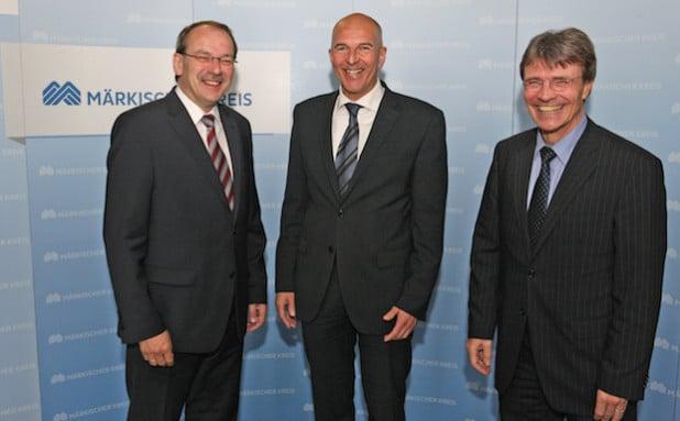 Antrittsbesuch im Kreishaus (von links): Landrat Thomas Gemke, Dr. Georg Lunemann und Kreiskämmerer Fritz Heer (Foto: Hendrik Klein/Märkischer Kreis).