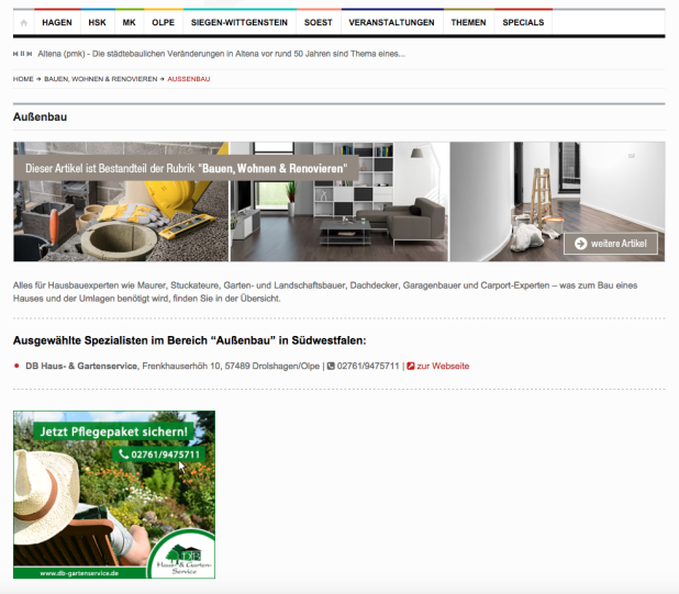 Bauen-Wohnen Spezial auf Südwestfalen-Nachrichten: Für DB-Gartenservice ein ideales Werbeumfeld.
