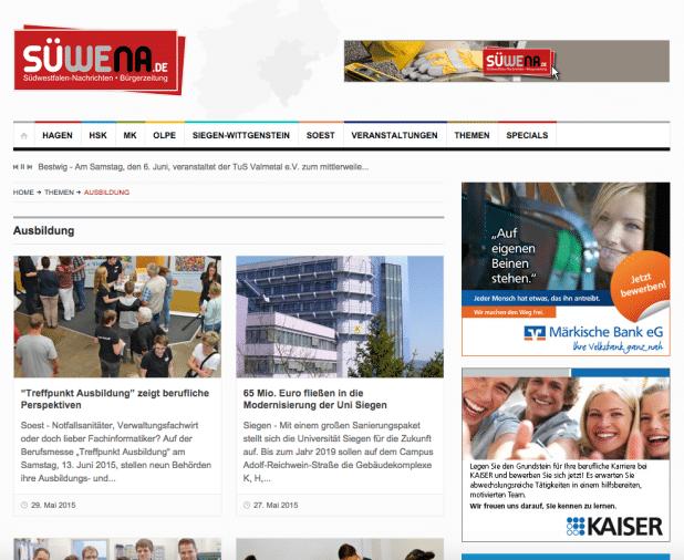 """Azubisuche bei Südwestfalen-Nachrichten: Märkische Bank und das Unternehmen """"Kaiser"""" wissen, dass Internetwerbung einfach in den Marketingmix gehört."""