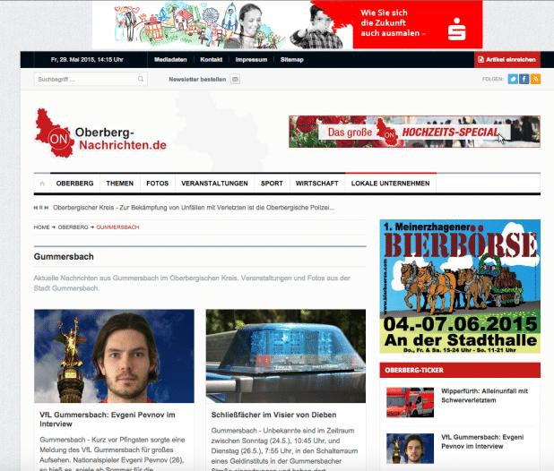 Aktuelle Internetkampagne der Sparkasse Gummersbach-Bergneustadt auf Oberberg-Nachrichten.de