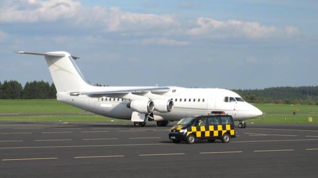 """Auch recht kapitale Passagier-Jets steuern die Lippe an - wie diese vierstrahlige Avro RJ, auch """"Jumbolino"""" genannt (Foto: EDGS)."""