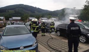 Plettenberg: PKW auf Aqua Magis-Parkplatz geriet in Brand