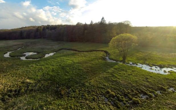 Der Fluss mäandriert, die Fichten sind weg, die Möhneaue kann sich entwickeln. Diese Luftaufnahme des Oberlaufs macht die Entwicklung durch die Maßnahmen des Life-Projekts augenfällig (Foto: Franz Reichenberger).