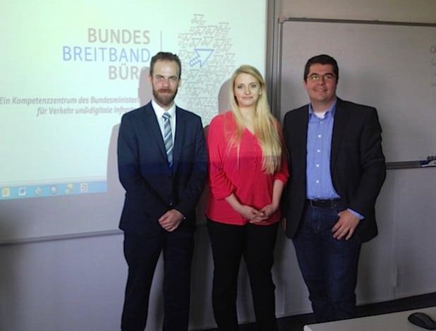 Beim ersten Seminar in NRW (v.l.n.r.): Marc Kastner, Breitbandbüro des Bundes, Claudia Motzek, BreitbandConsulting.NRW, und Stefan Glusa, TKG-SWF (Foto: TKG-SWF).