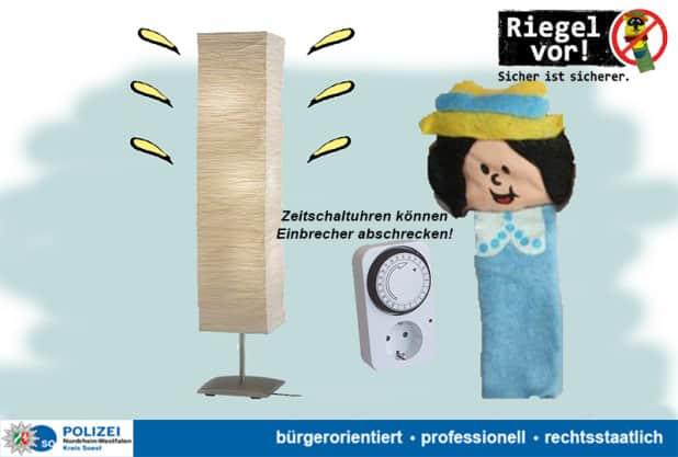 Zeitschaltuhren können helfen das eigene Heim sicherer zu machen! - Quelle: Kreispolizeibehörde Soest