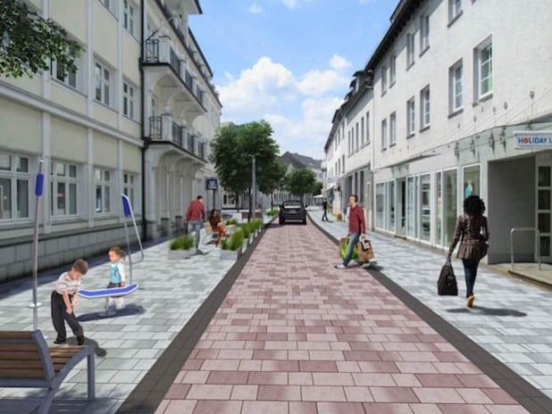 Die Planung für die Niederste Straße sieht zur Stärkung der Aufenthaltsqualität einen Aktionsstreifen vor (Quelle: Hansestadt Attendorn).