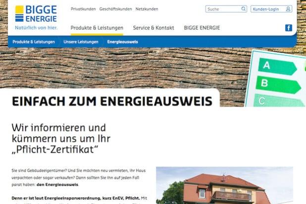 Die neue Internetseite von Bigge Energie bietet Informationen vom Tarif bis zum Energieausweis (Foto: BIGGE ENERGIE GmbH & Co. KG).