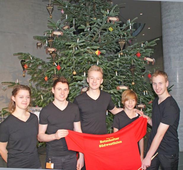 Die jungen Musiker als Botschafter Südwestfalens im Bundestag (Foto: Detlef Krüger/Märkischer Kreis).