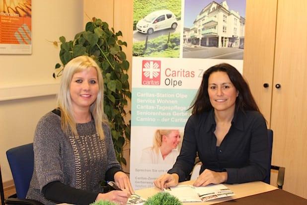 Dori Klotz, stellv. Pflegedienstleitung der Caritas-Station Olpe und Annika Gummersbach, Teamleitung der Caritas-Station Olpe (Foto: Caritas-Zentrum Olpe).