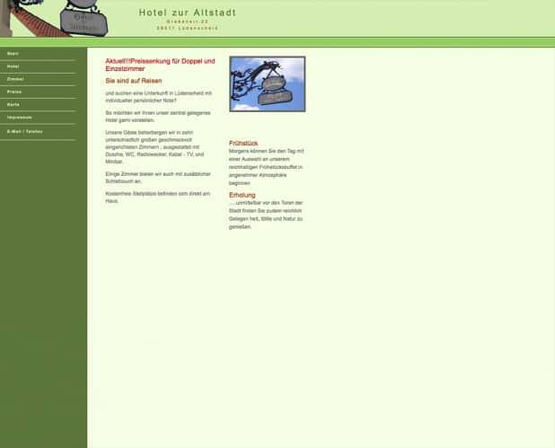 """Vor dem Homepage-Relaunch sah die Website noch sehr """"altbacken"""" aus. Die neue Homepage mit zeitgemäßer Funktionalität und Optik sehen Sie oben."""