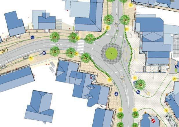 Im Juni beginnen die Arbeiten für den künftigen Kreisverkehr am Markt: Dann kann der Autoverkehr an diesem Knotenpunkt deutlich besser fließen. Bildnachweis: Stadt Olsberg