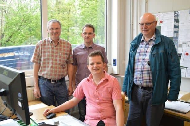 v..l. Michael Lütticke, , Reiner Hesmert, Andre Völker (sitzend), Günter Rotthoff. Quelle: Werthmann-Werkstätten