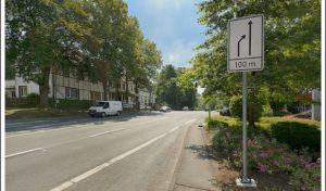 Markierung Heedfelder Straße in Lüdenscheid – Spureinzug