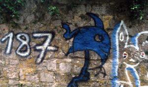 Korbach – Graffitischmierereien an der Stadtmauer im Hospitalhagen