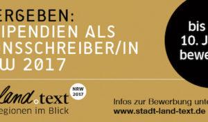 Altena – Stipendium stadt.land.text zu vergeben: Jetzt bewerben als Regionsschreiber/in! Frist: 10.01.2017