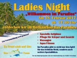 <b>Paradiesische Ladies-Night im Rothaarbad Bad Berleburg startet am 18. Februar 2017 um 17.30 Uh</b>