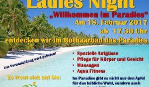 Paradiesische Ladies-Night im Rothaarbad Bad Berleburg startet am 18. Februar 2017 um 17.30 Uh