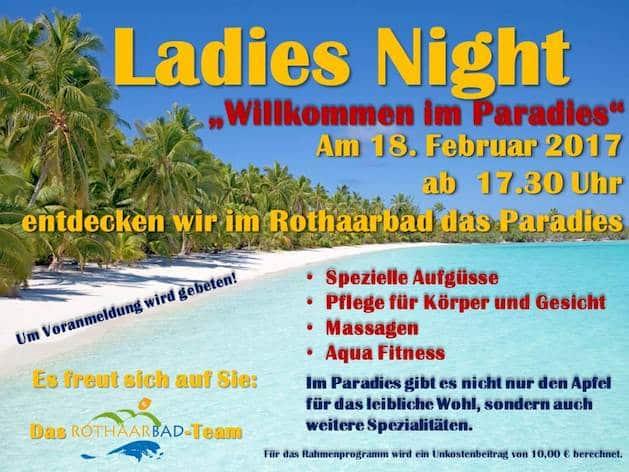 Photo of Paradiesische Ladies-Night im Rothaarbad Bad Berleburg startet am 18. Februar 2017 um 17.30 Uh