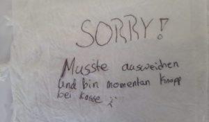 Entschuldigung auf Serviette