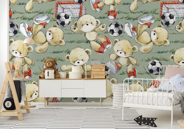 Niedliche Fototapete mit Fußballmotiv im Kinderzimmer